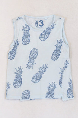 Cotton On Soft Blue Pineapple Tank Top Boys 2-3 years