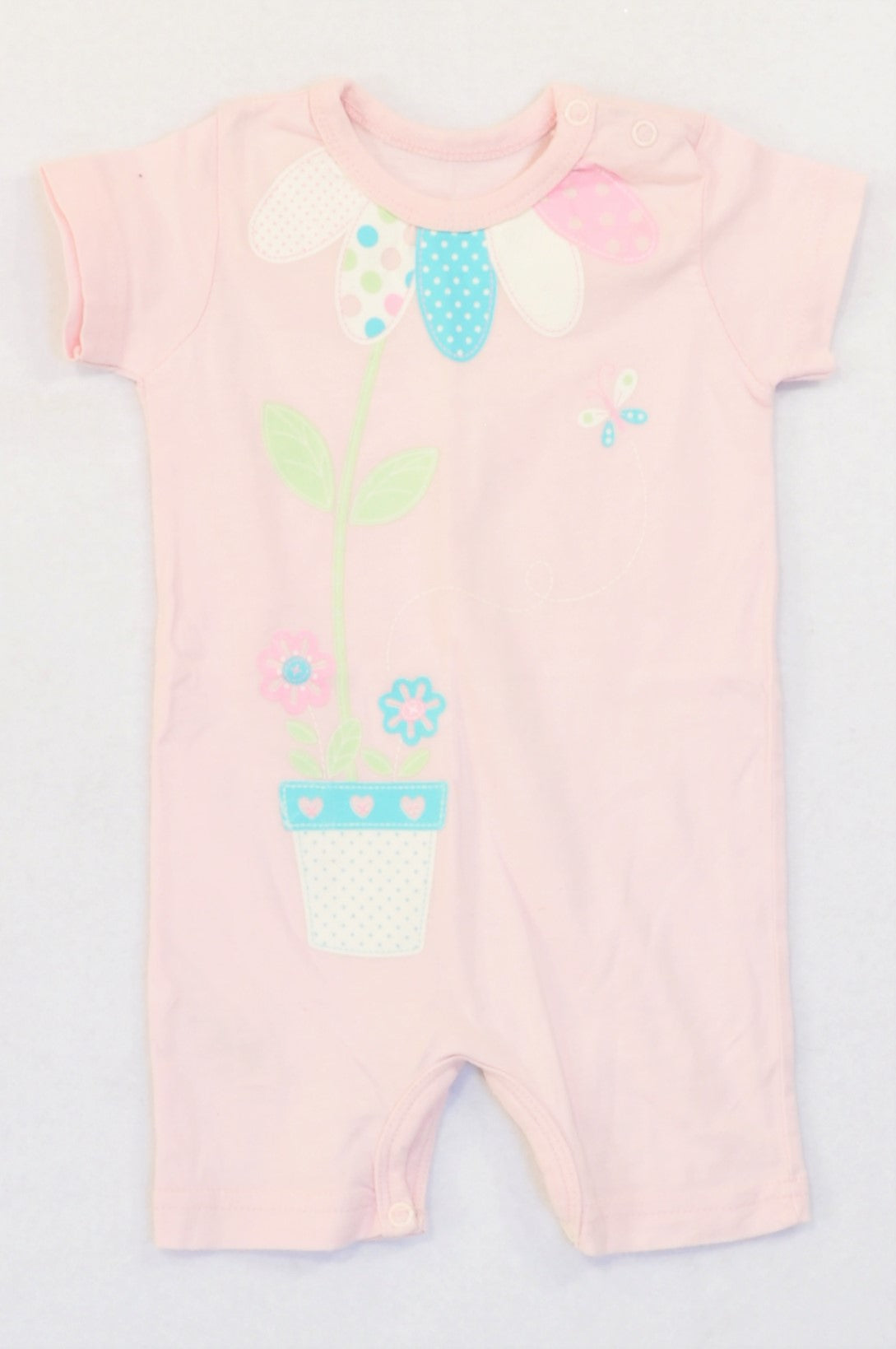 Woolworths Pink Flower In A Pot Romper Girls 0-3 months