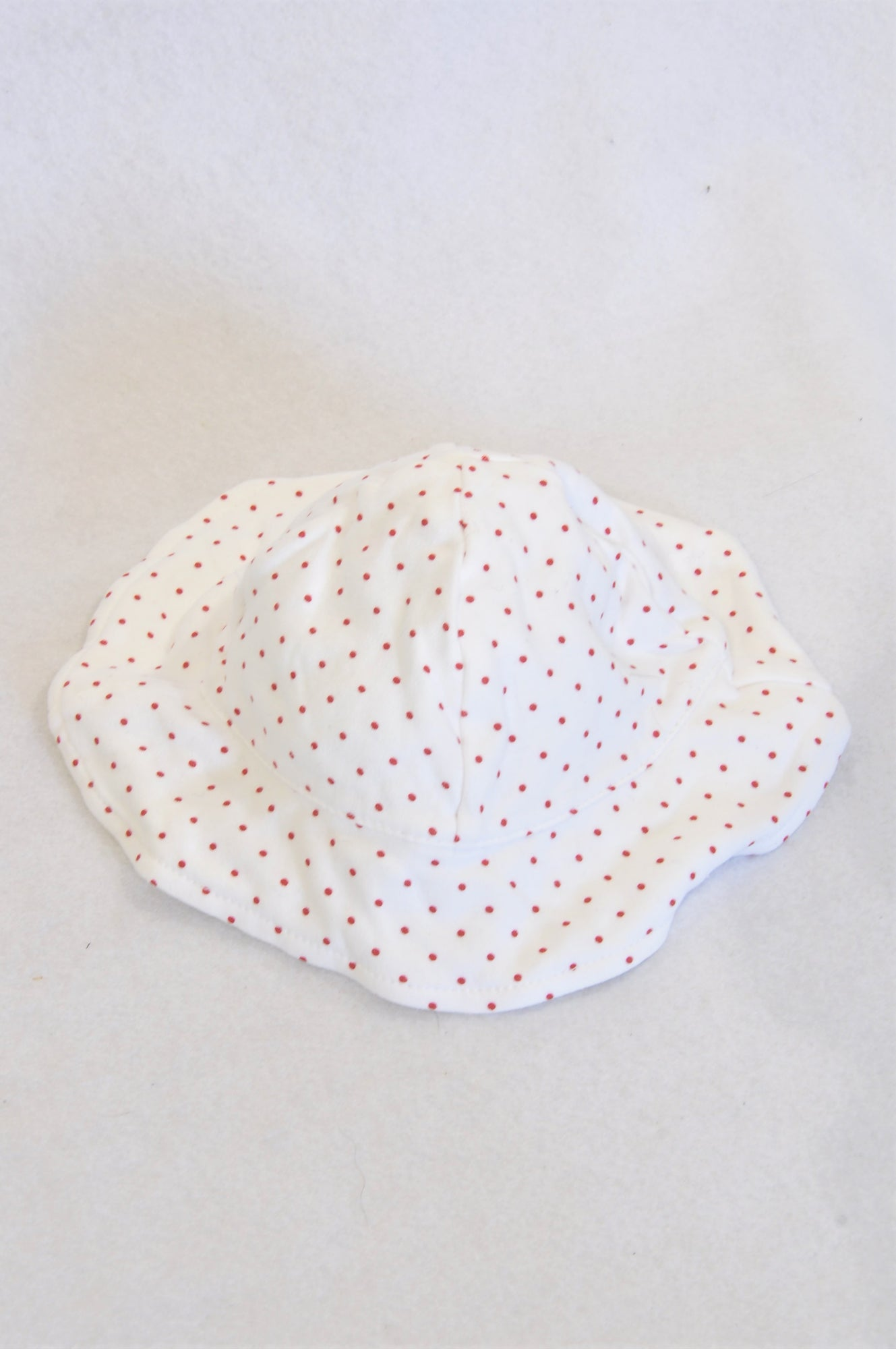 Edgars White Red Dotty Sun Hat Girls 0-3 months