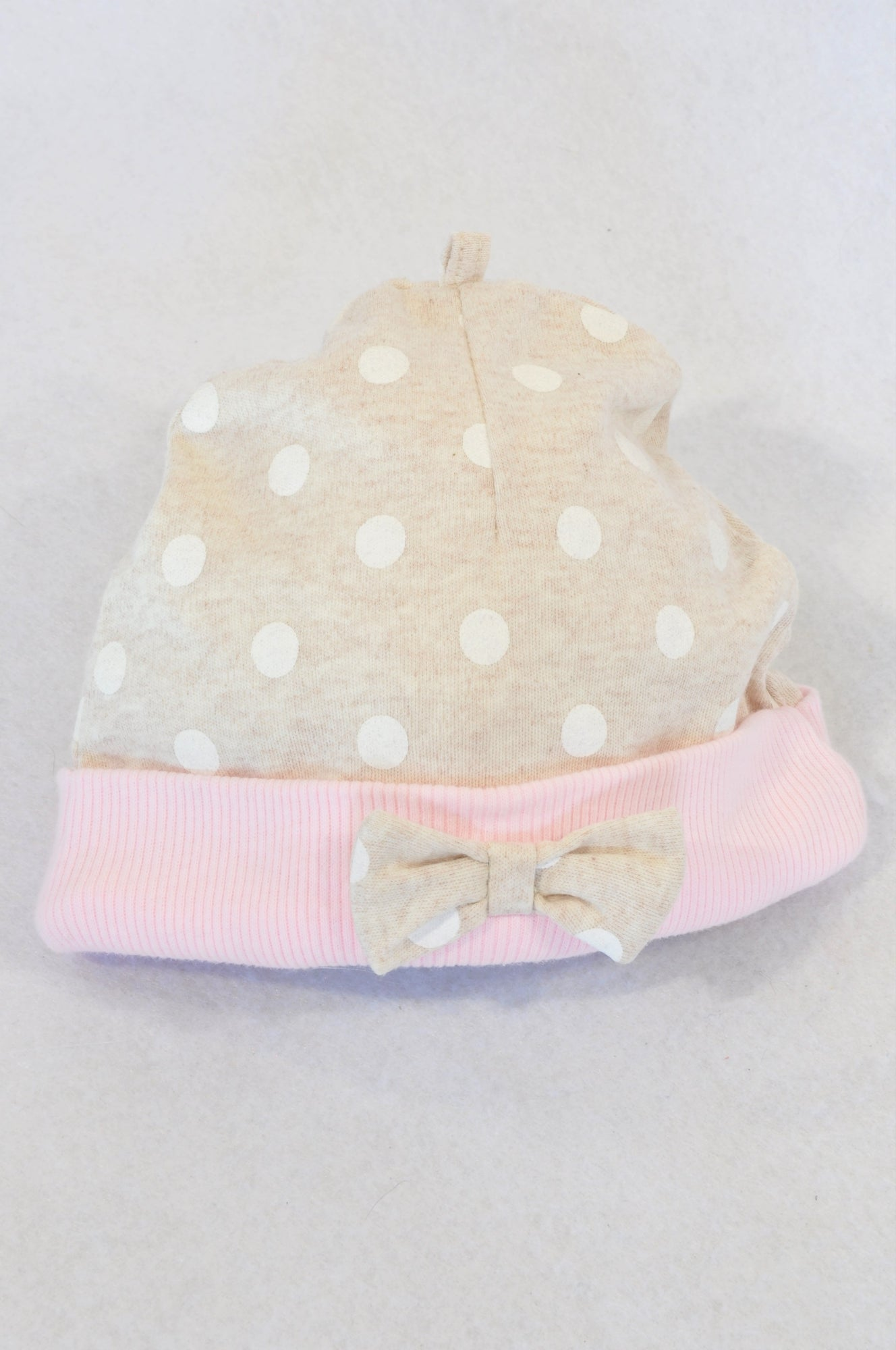 Woolworths Beige Dotty Pink Band Bow Beanie Girls 3-6 months