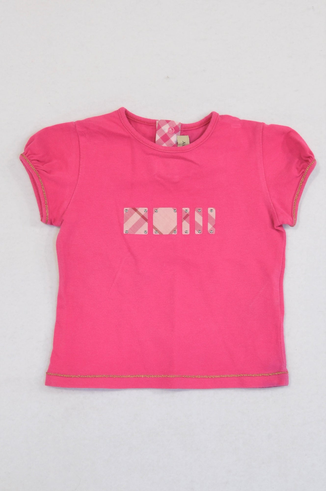 Burberry Cerise Plaid Stud Patch T-shirt Girls 6-9 months