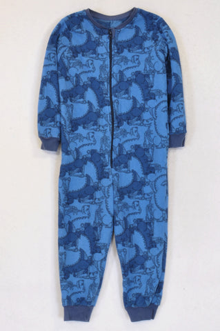 Woolworths Blue Grey Trim Dinosaur Onesies Boys 3-4 years