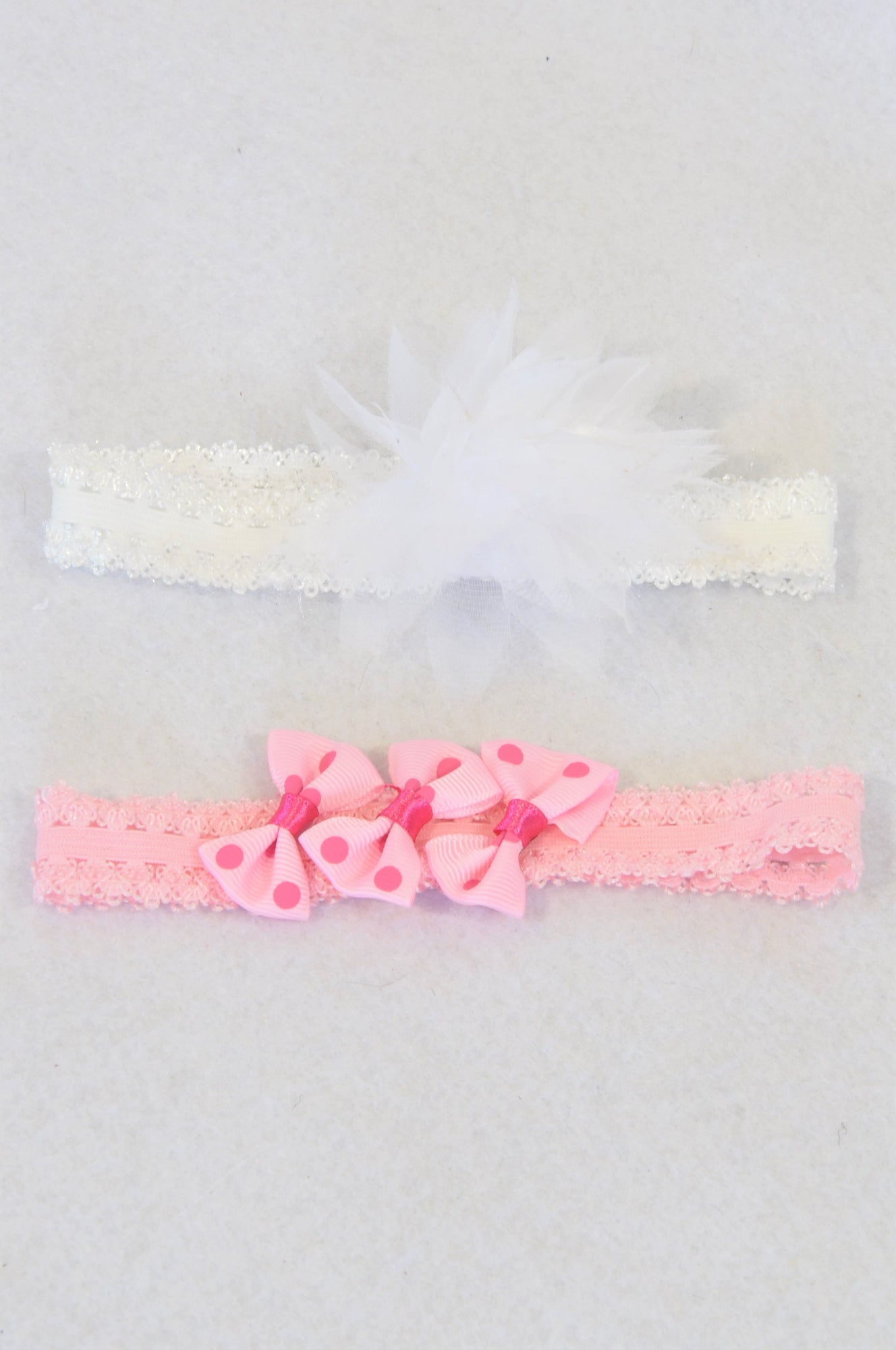 Unbranded 2 Pack White and Pink Stretchy Lace Headbands Girls N-B to 1 year