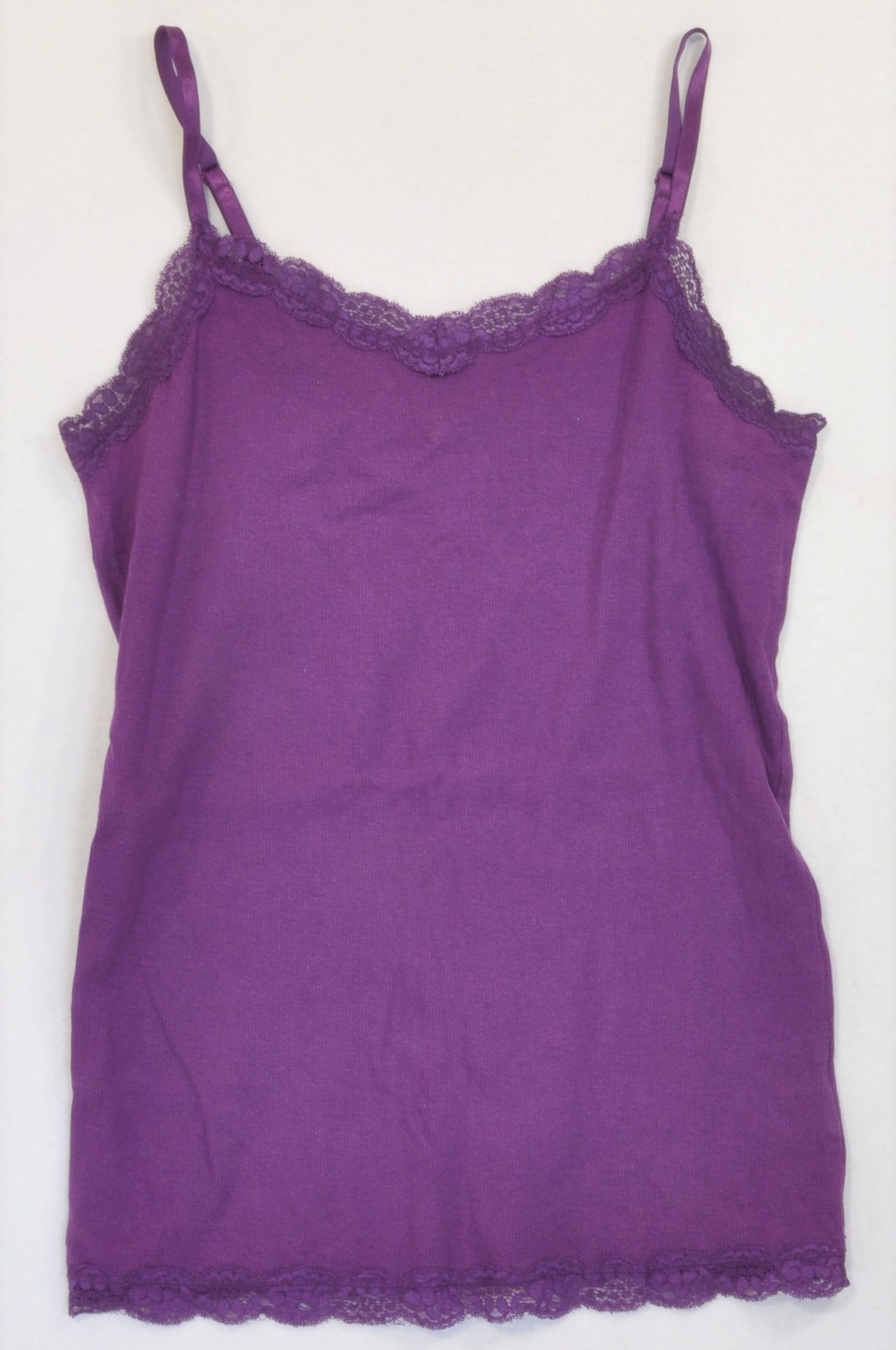 Faded Glory Dark Purple Lace Trim Ribbed Strappy T-shirt Women Size 12