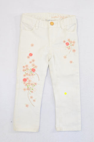 GAP White Embroidered Flower Skinny Jeans Girls 18-24 months