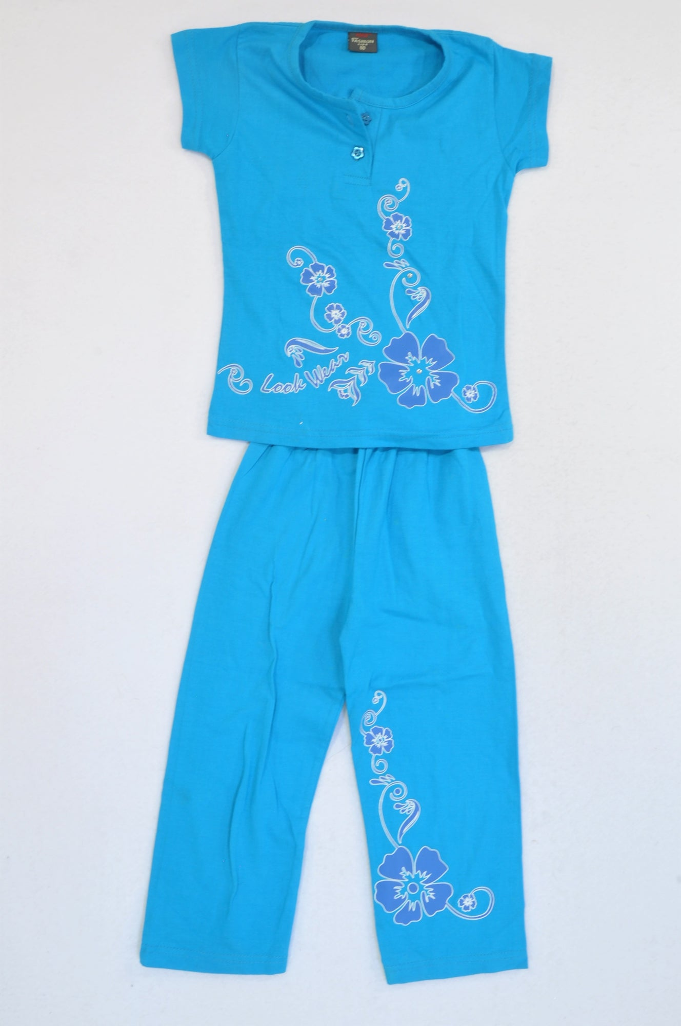 Force Fashion Blue Hibiscus Print Lounge Outfit Girls 3-4 years