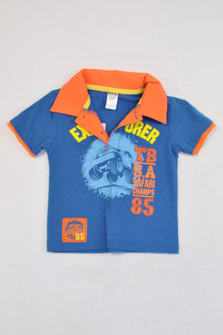 Ackermans Blue & Orange Explorer Golf T-shirt Boys 6-12 months