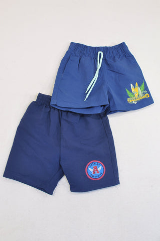Ackermans 2 Pack Navy & Blue Swim Shorts Boys 3-6 months
