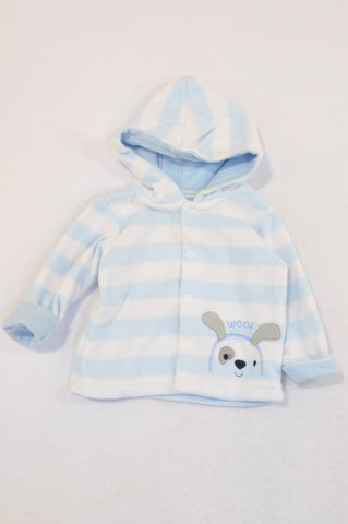 Woolworths Soft Blue & White Stripe Woof Jersey Boys 0-3 months