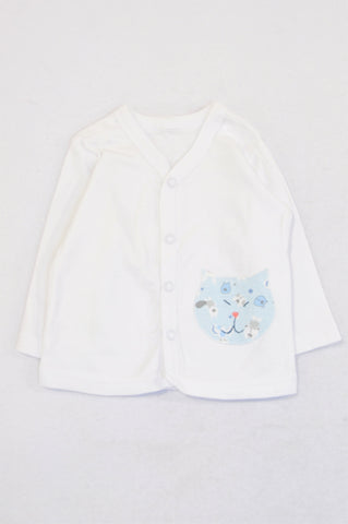 Unbranded White Kitten Pocket Snap Cardigan Unisex 0-3 months
