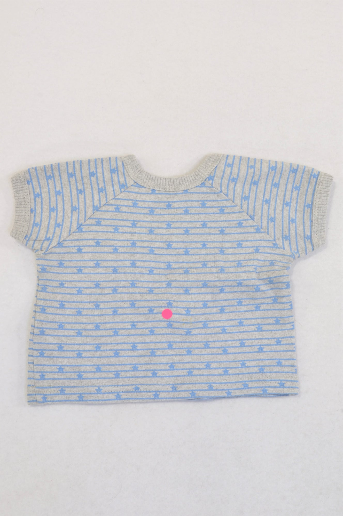 Woolworths Grey & Blue Stripe Love Cuddles T-shirt Boys 0-3 months