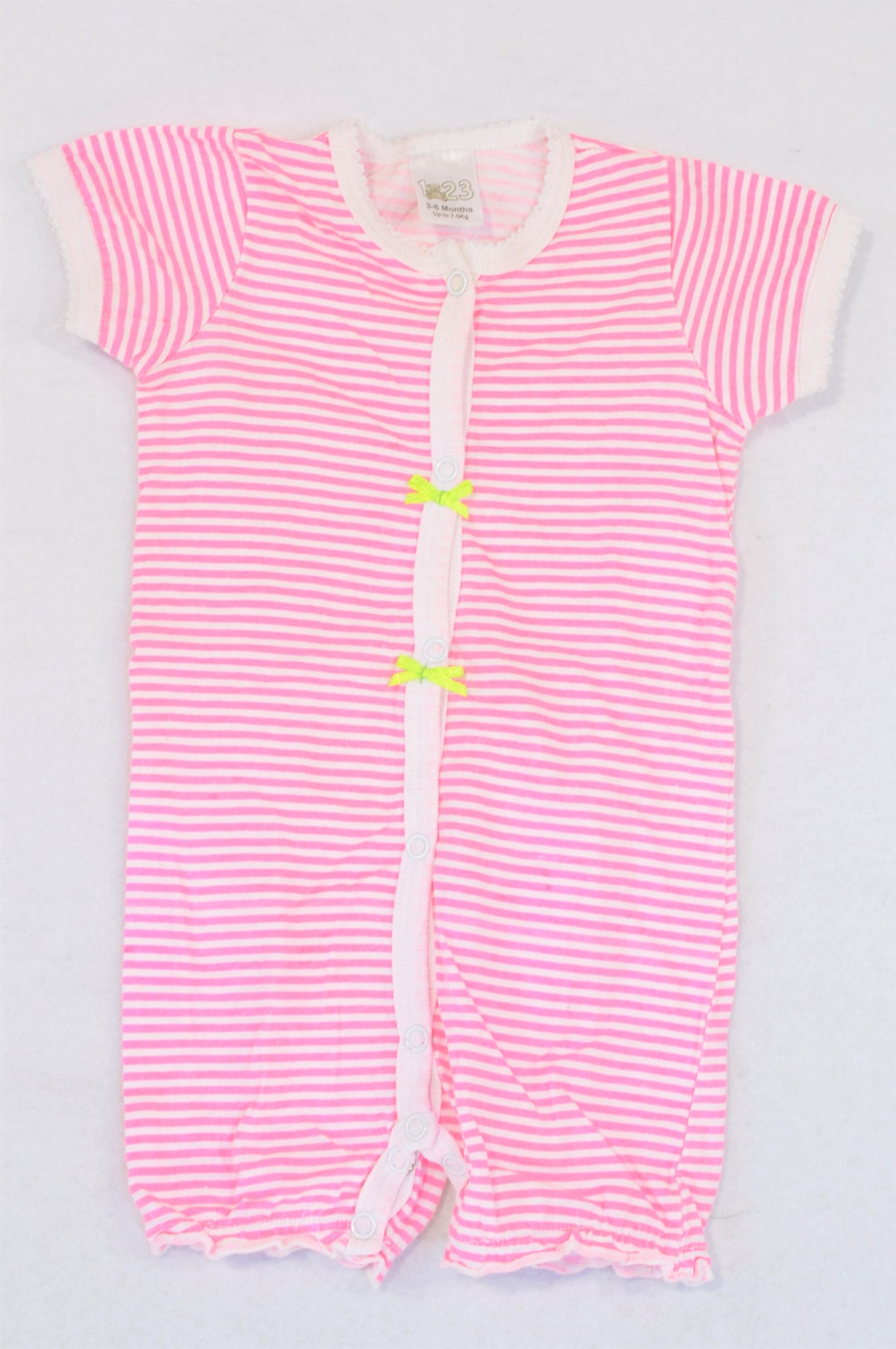 Edgars Pink Lime Stripe Green Bow Romper Girls 3-6 months