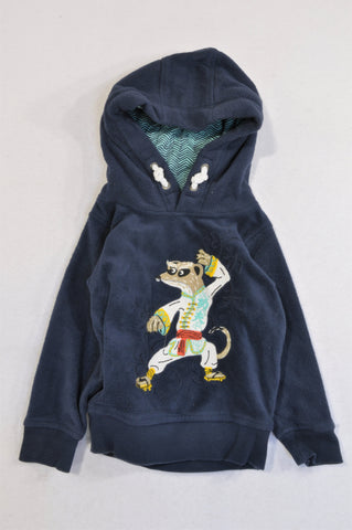 Marks & Spencers Navy Fleece Karate Meerkat Hoodie Boys 12-18 months