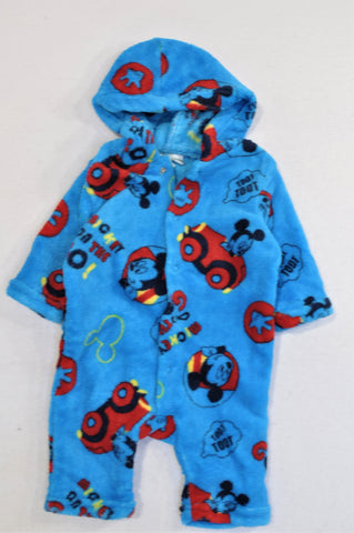 Disney Blue Fleece Mickey Mouse Onesie Boys N-B