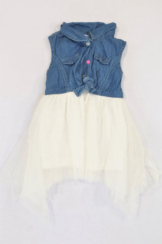 Ackermans Denim Frill Bodice & Glitter Tulle Tutu Dress Girls 12-18 months