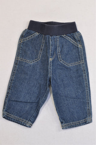 Mothercare Denim Navy banded Jeans Boys 3-6 months
