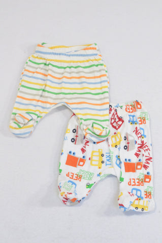 Ackermans 2 Pack Trucks & Stripes Footed Leggings Boys Tiny Baby