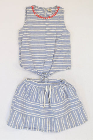 OshKosh Dusty Blue Stripe Red Neckline Blouse & Skirt Outfit Girls 6-8 years
