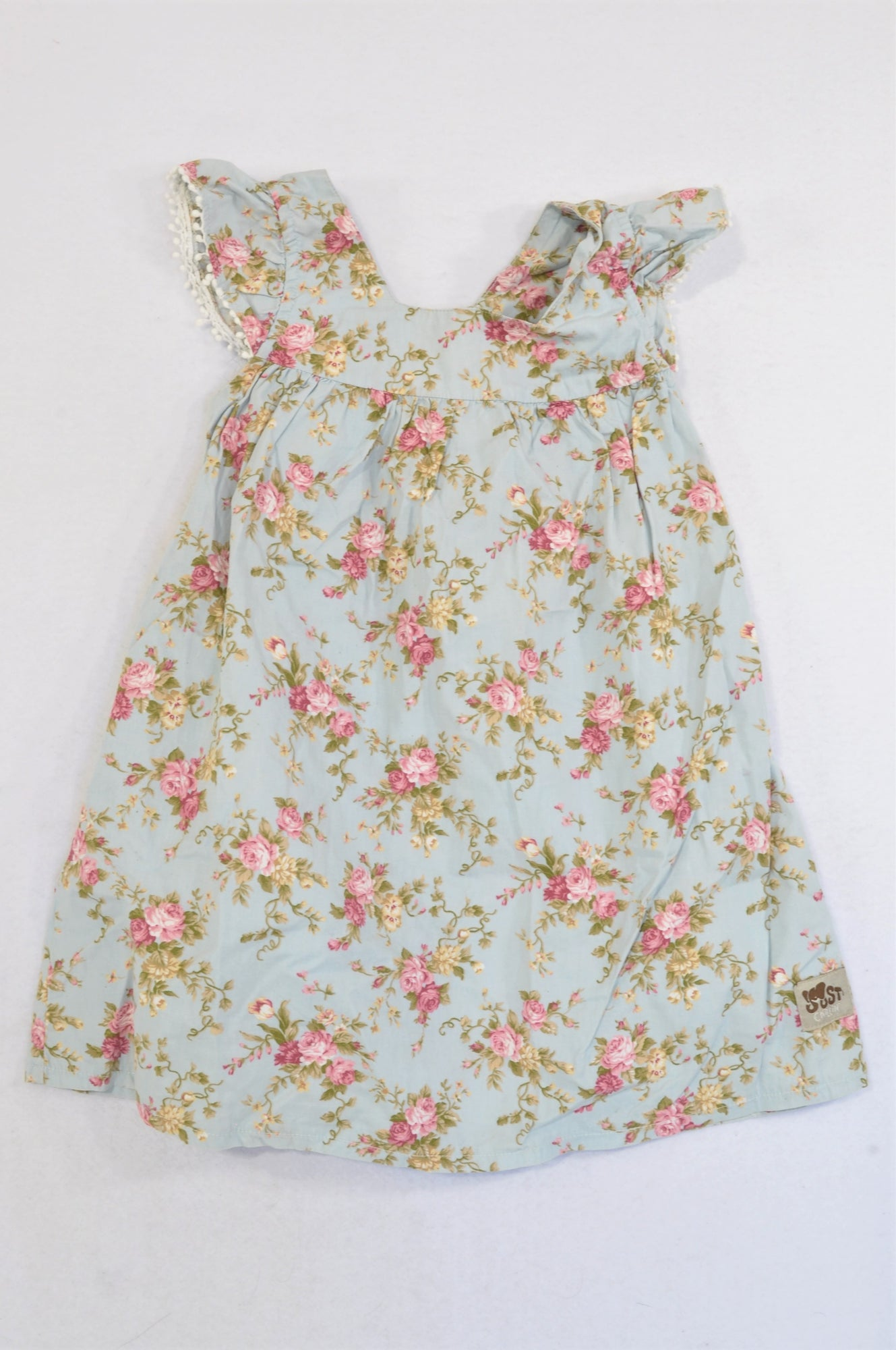 Just Chillin' Dusty Pink Bauble Trim Floral Dress Girls 2-3 years