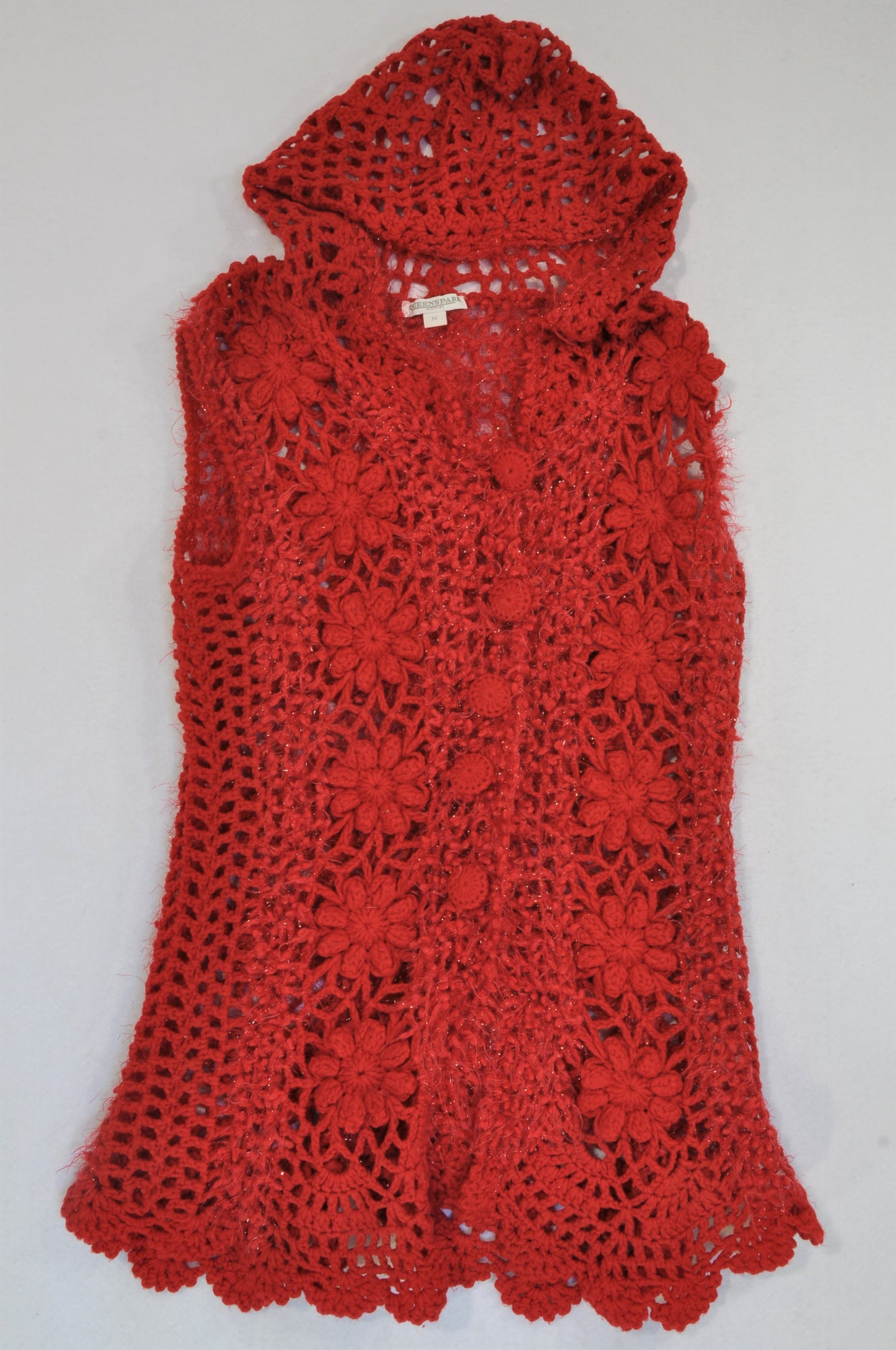 Queenspark Red Floral Knit Hooded Cardigan Women Size M