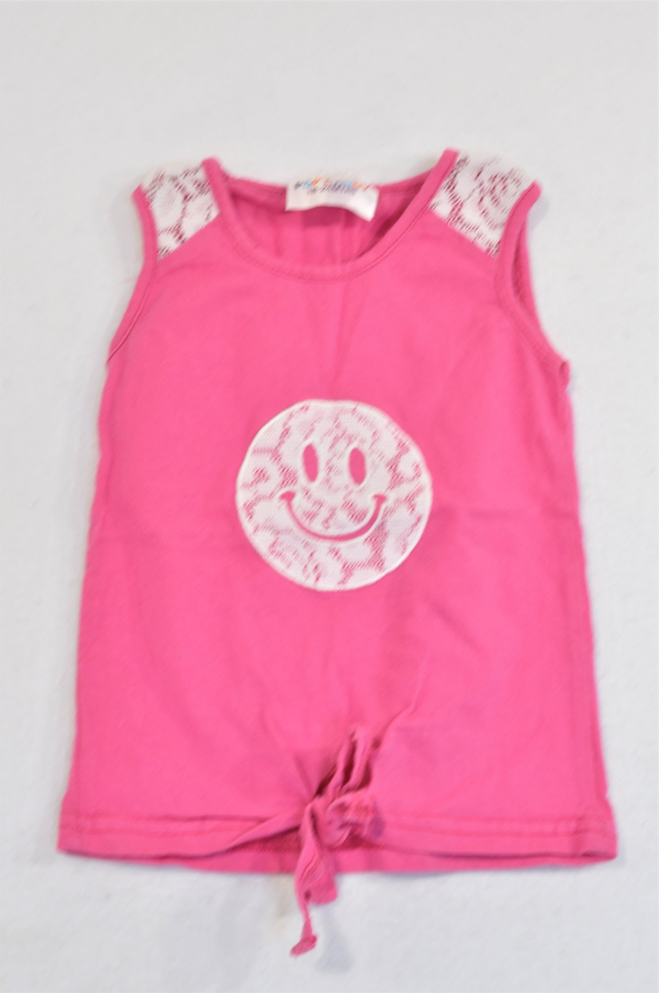 Pop Candy Pink Lace Inset Smiley T-shirt Girls 18-24 months