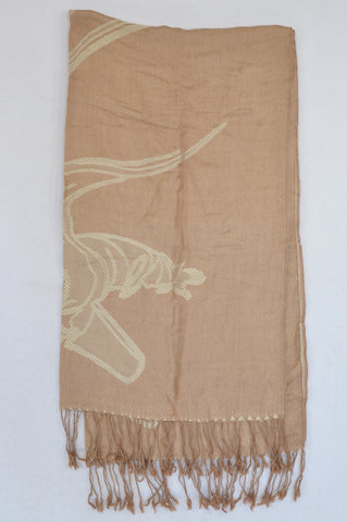 Unbranded Brown Ivory Detail Tassel Lightweight Scarf Women