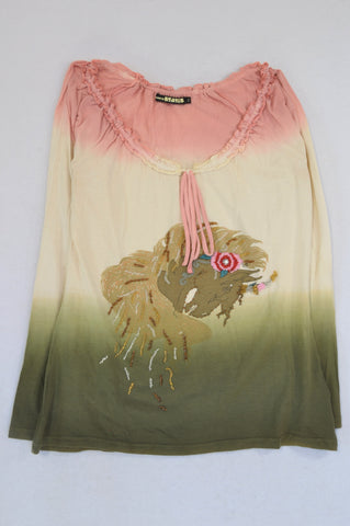 Status Pink Cream & Olive Ombre Unicorn Beaded T-shirt Women Size 8