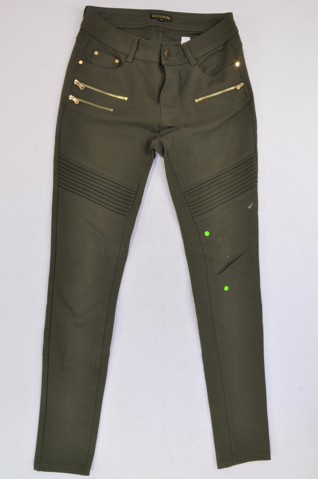 G-Couture Olive Distressed Knee Jeggings Women Size 34