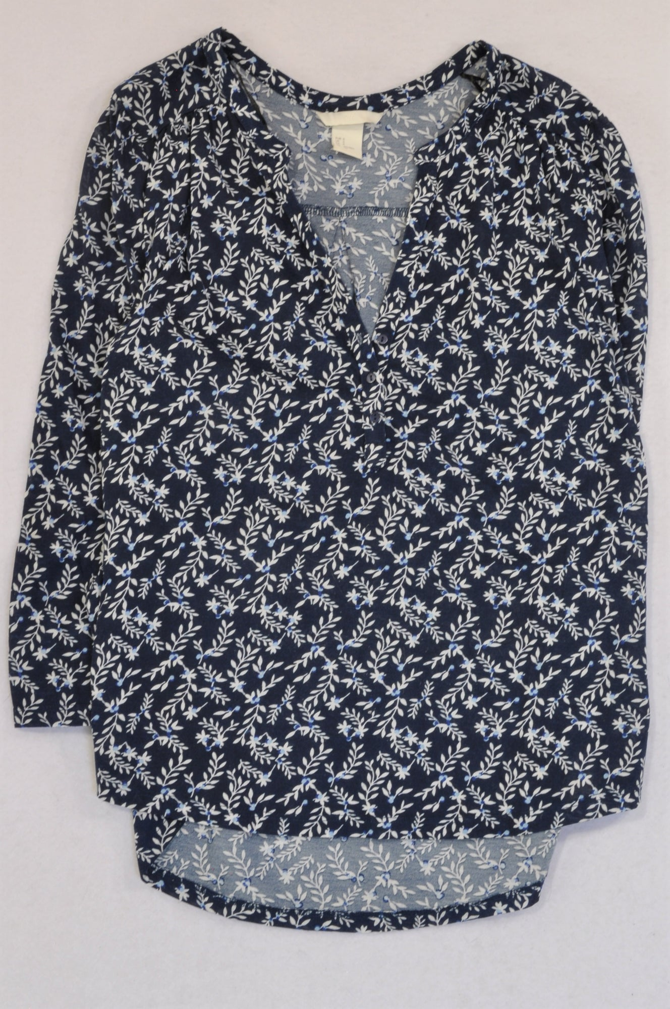 H&M Navy Floral Button 3/4 Sleeve T-shirt Women Size S