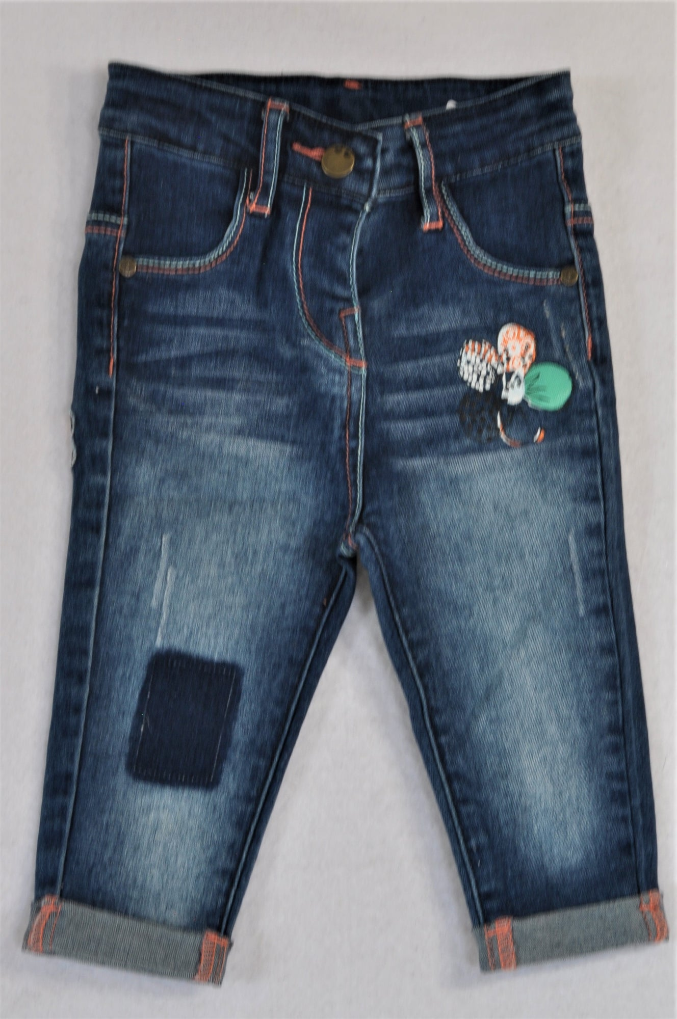Woolworths Stone Washed Embroidered Flower Roll Up Jeans Girls 6-12 months