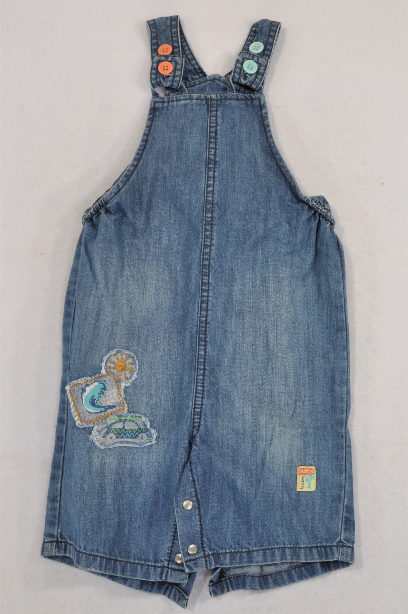 Naartjie Light Wash Strappy Denim Dungarees Boys 6-12 months