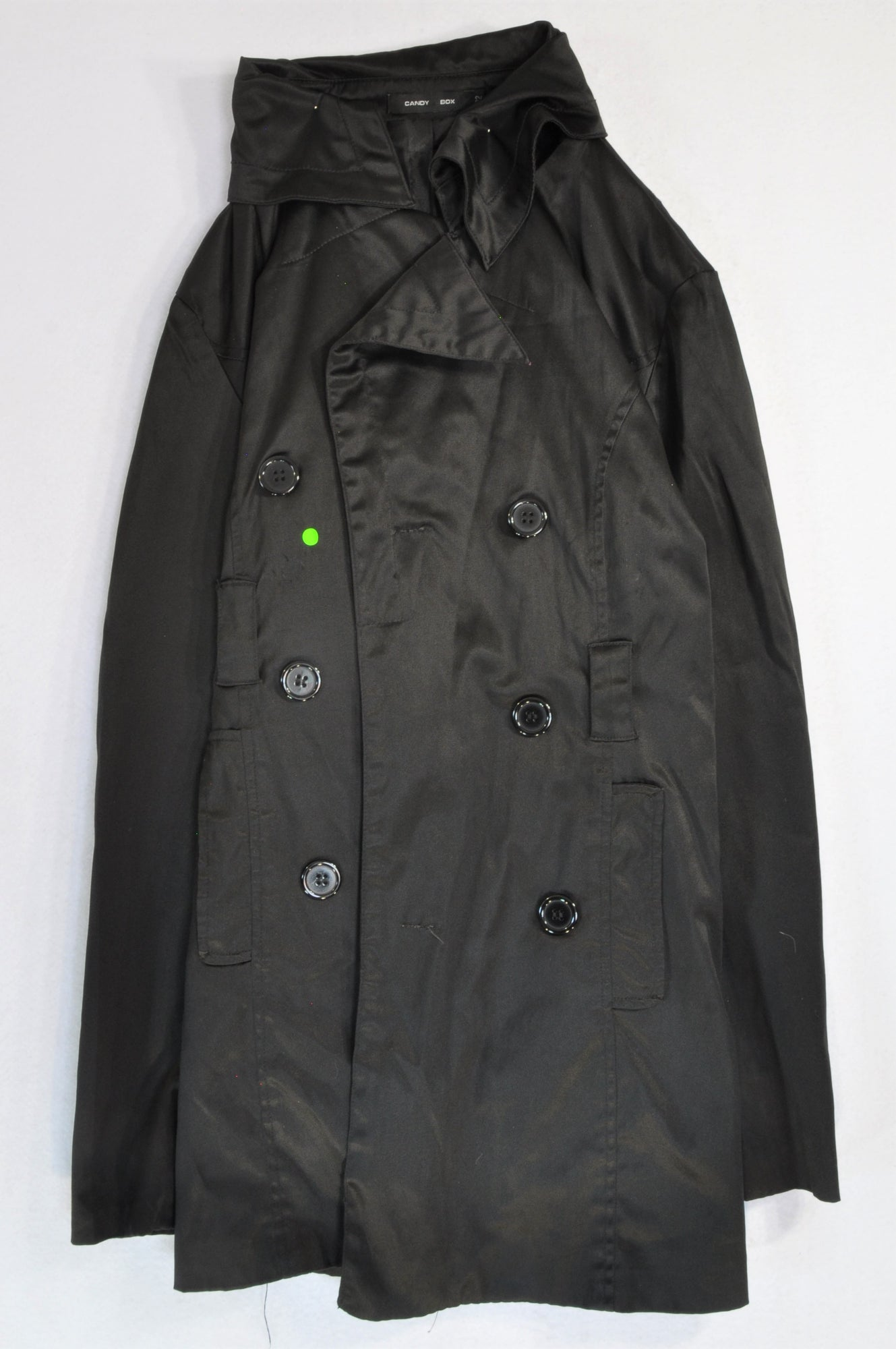 Candy Coat Black Sateen Button Lightweight Coat Women Size 34
