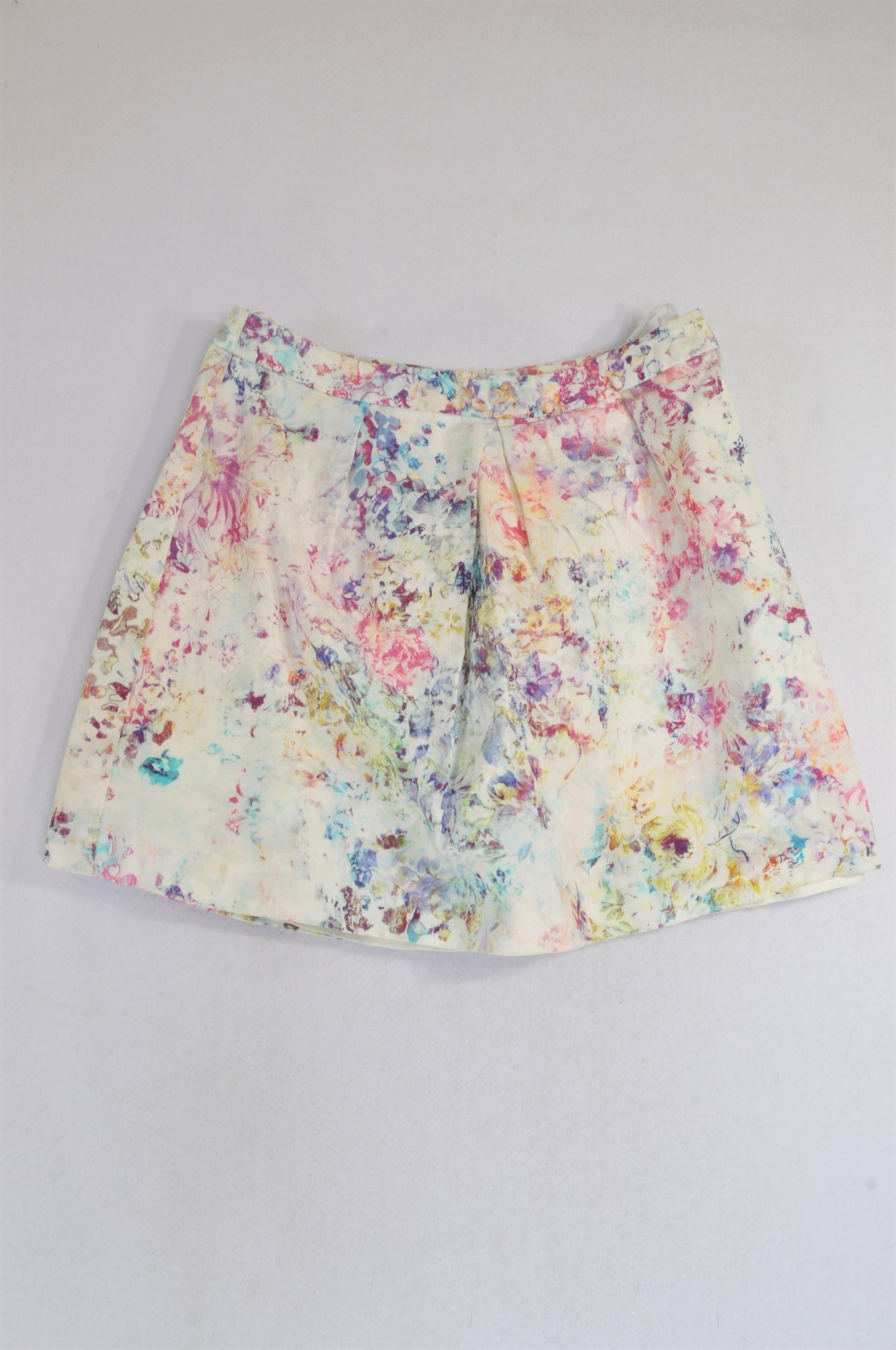Unbranded White Ribbed Watercolor Flower Skirt Women Size 34