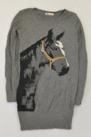 H&M Grey Horse Knit Jersey Girls 8-10 years