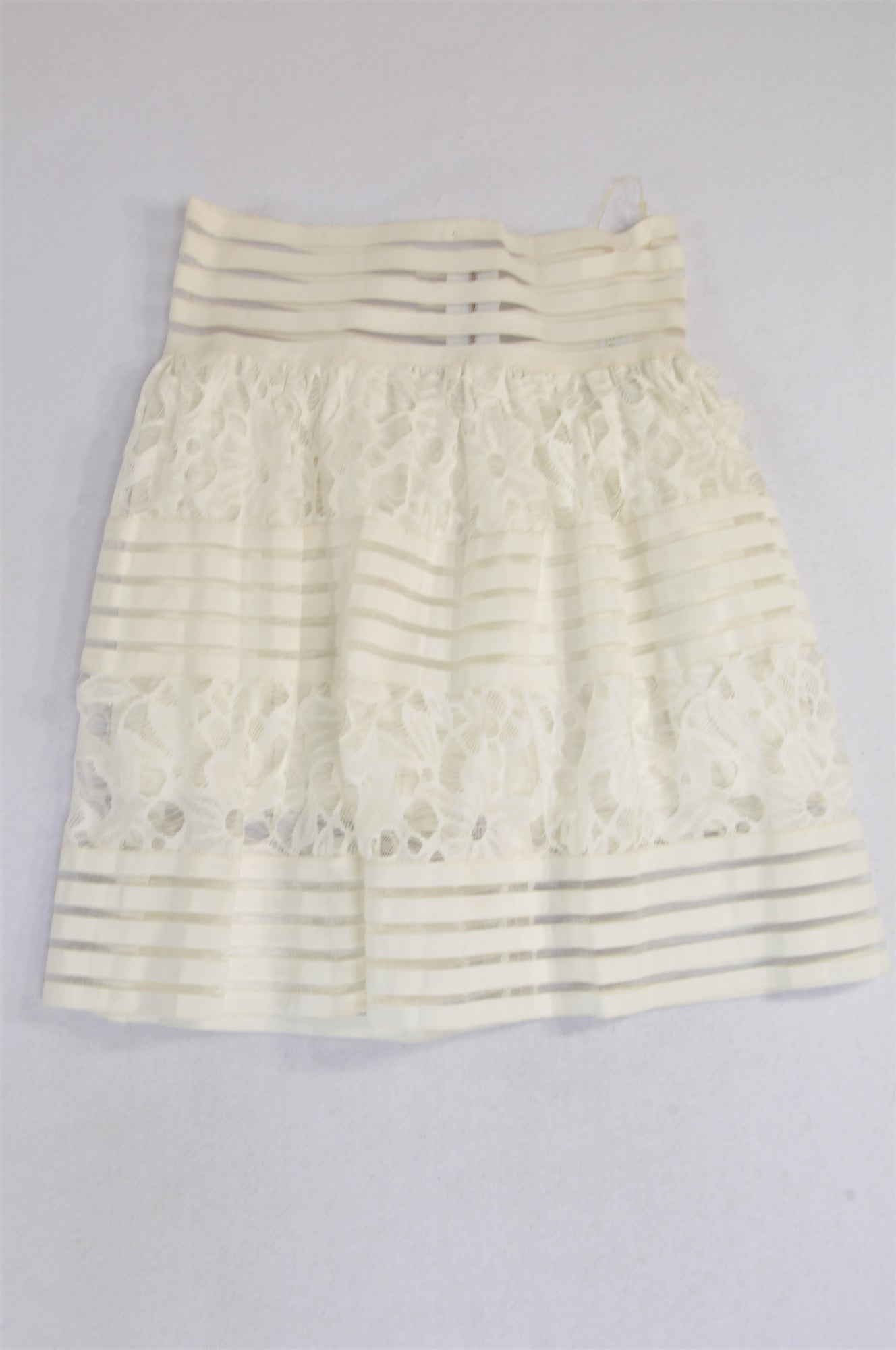 Kamlo Ivory Flower Horizontal Stripe High Waisted Skirt Women Size M