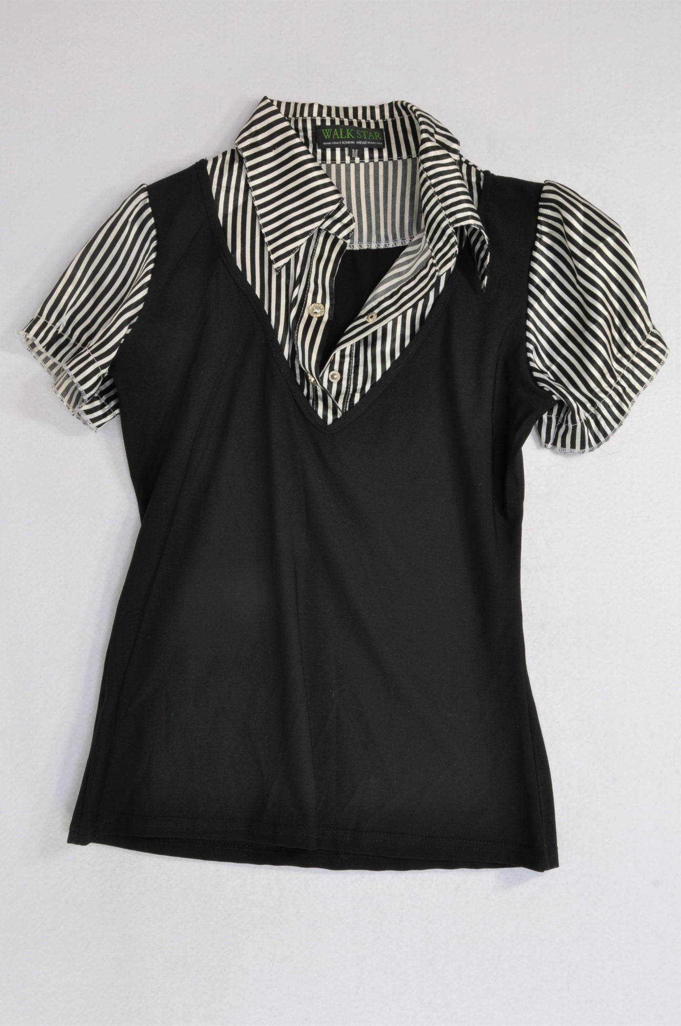 Walk Star Black Pinstripe Detail Blouse Women Size M