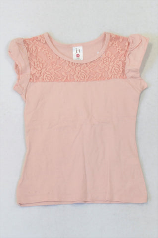 Jet Pink Lace Inset T-shirt Girls 5-6 years