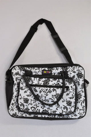 New Dischem Black & White Floral Nappy Bag Unisex N-B to 2 years