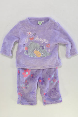 Disney Eeyore Hugs Coral Fleece Jammies Girls 0-3 months