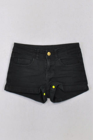 H&M Basic Black Shorts Girls 9-10 years