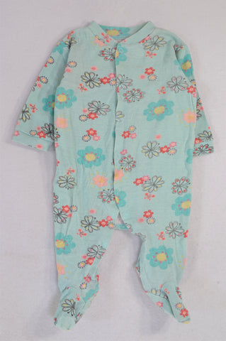 Woolworths Blue Floral Snap Onesie Girls 3-6 months