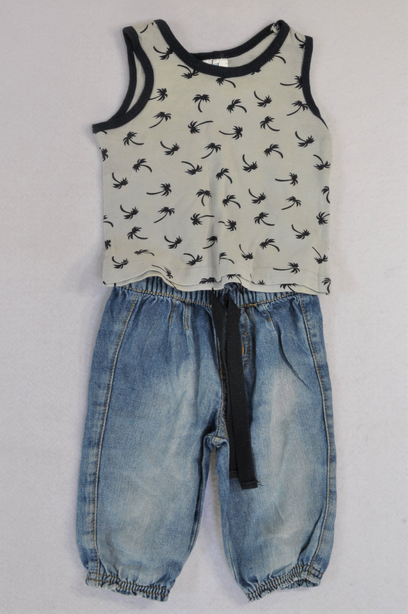 Mr. Price Grey Palm Tree Tank & Light Denim Jeans Outfit Boys 3-6 months