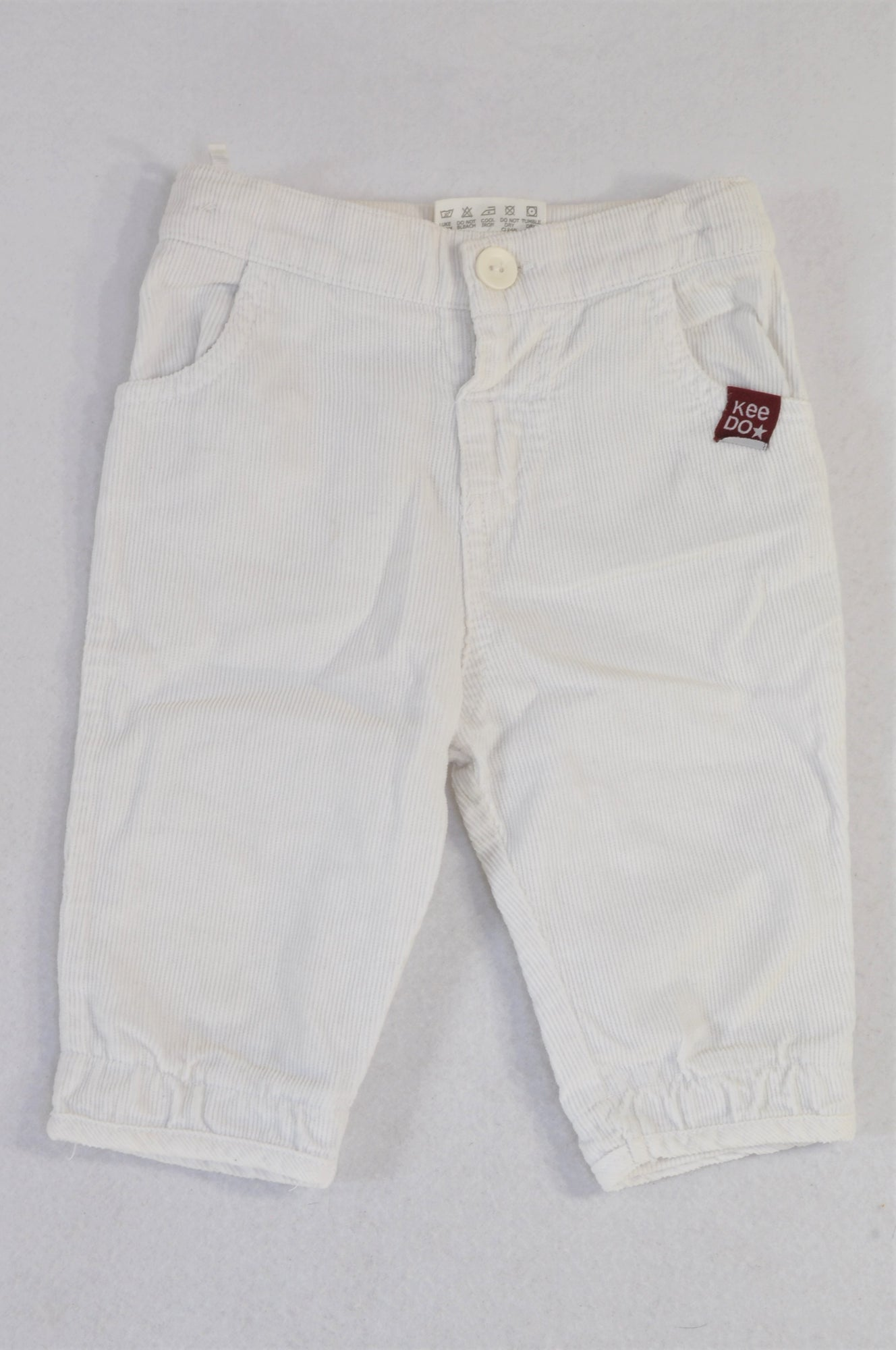 Keedo White Pocket Logo Corduroy Pants Girls 0-3 months