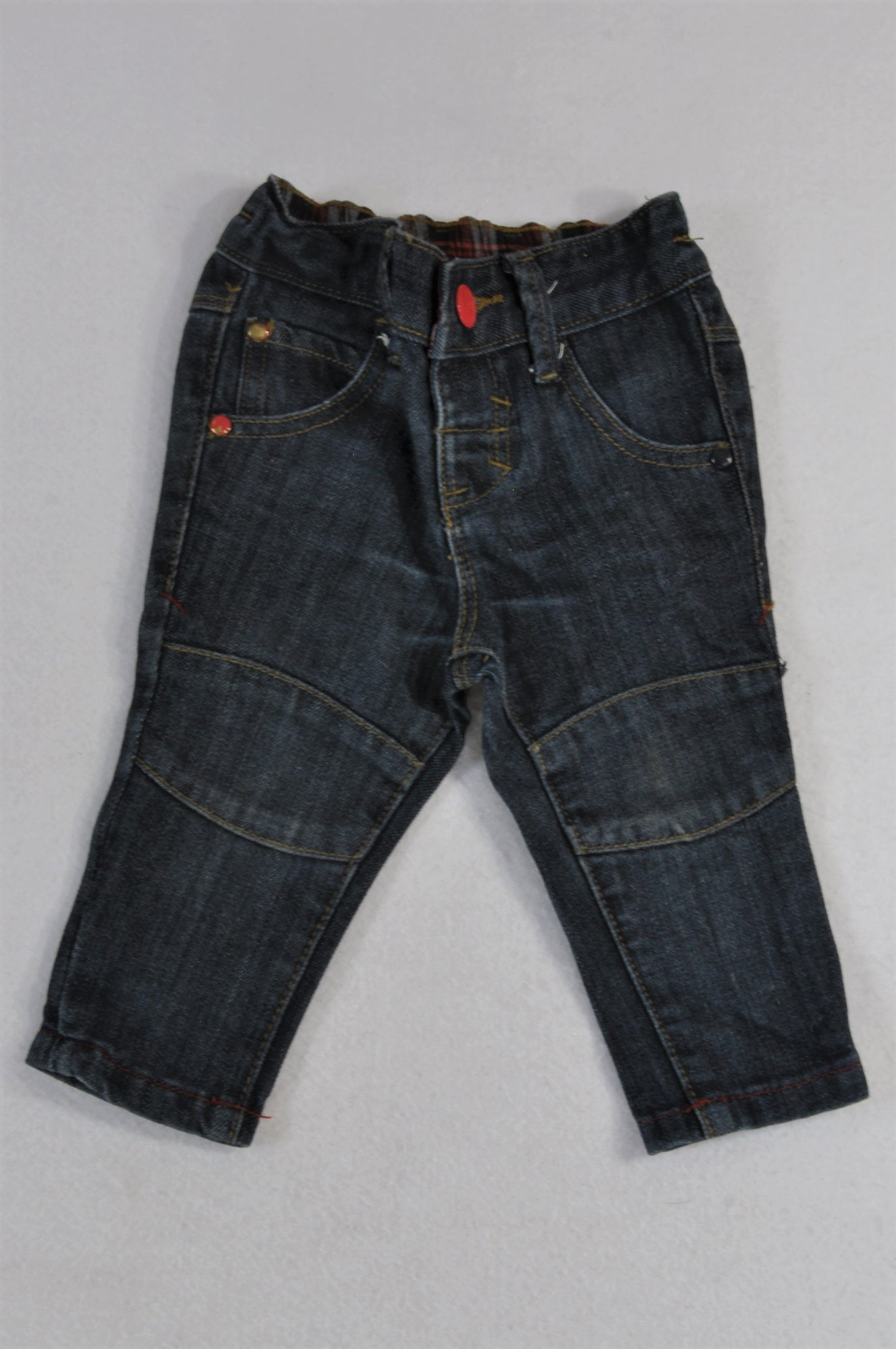 Edgars Dark Wash Knee Detail Denim Jeans Boys 0-3 months