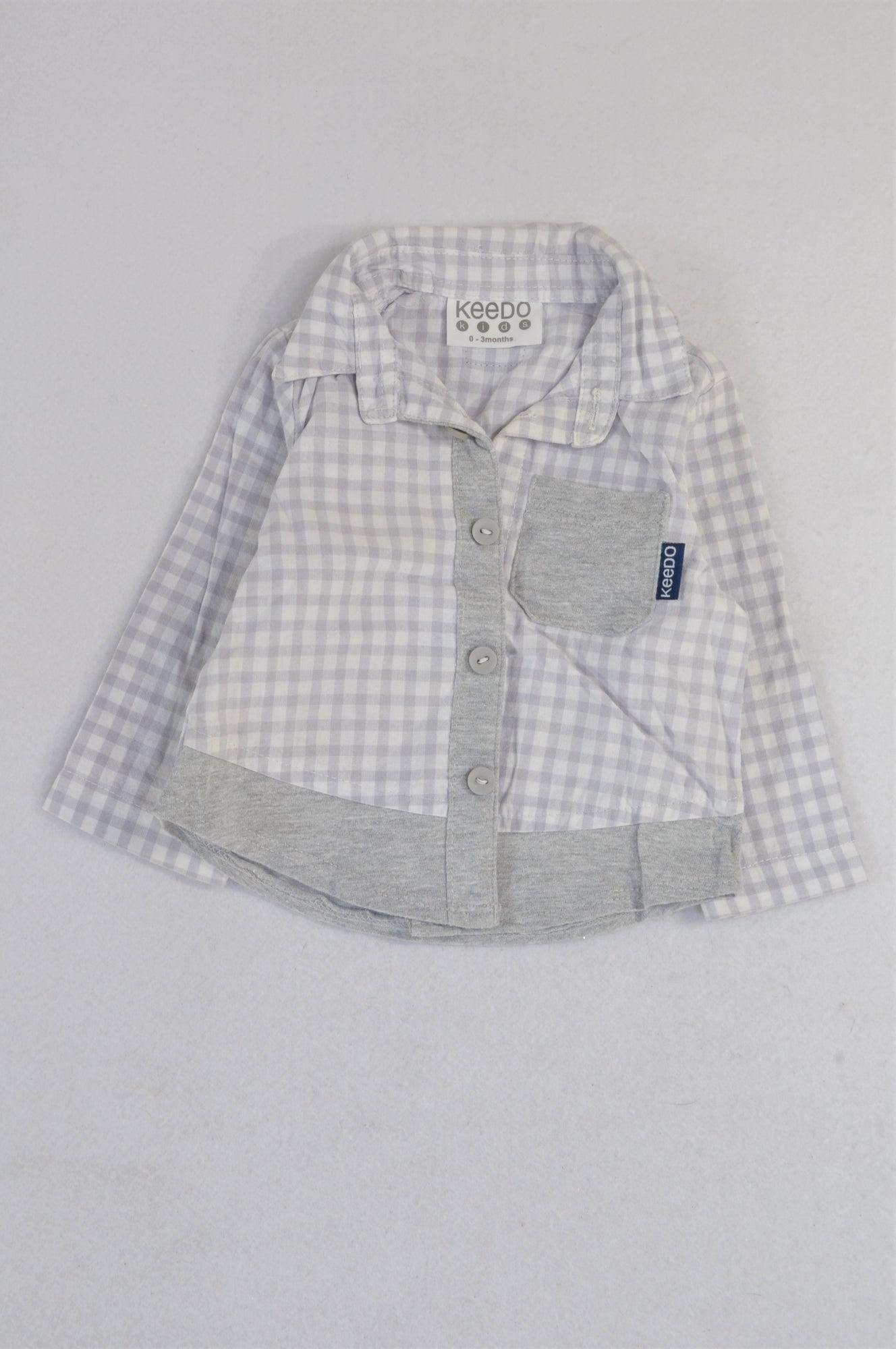 Keedo Lilac Check Grey Detail Lightweight Shirt Boys 0-3 months