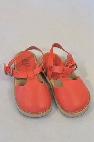 Zara Size 5 Coral Leather Open Heel Shoes Girls 18-24 months