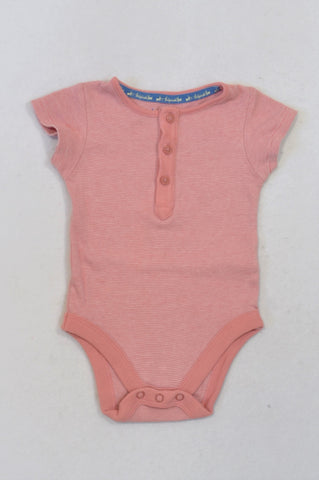 Marks & Spencers Pink Pinstripe Baby Grow Girls 3-6 months