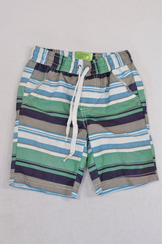 Ackermans Green Blue & Grey Striped Swim Shorts Boys 3-4 years