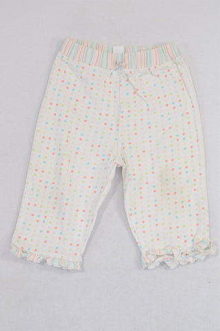 Carter's Pink Dotty Striped Trim Pants Girls 6-9 months