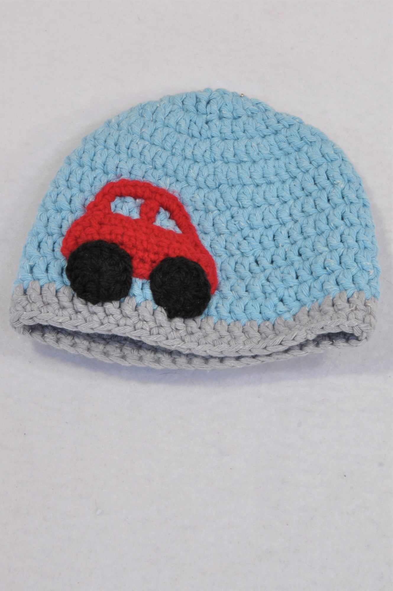 Unbranded Blue & Red Car Knit Beanie Boys 0-3 months